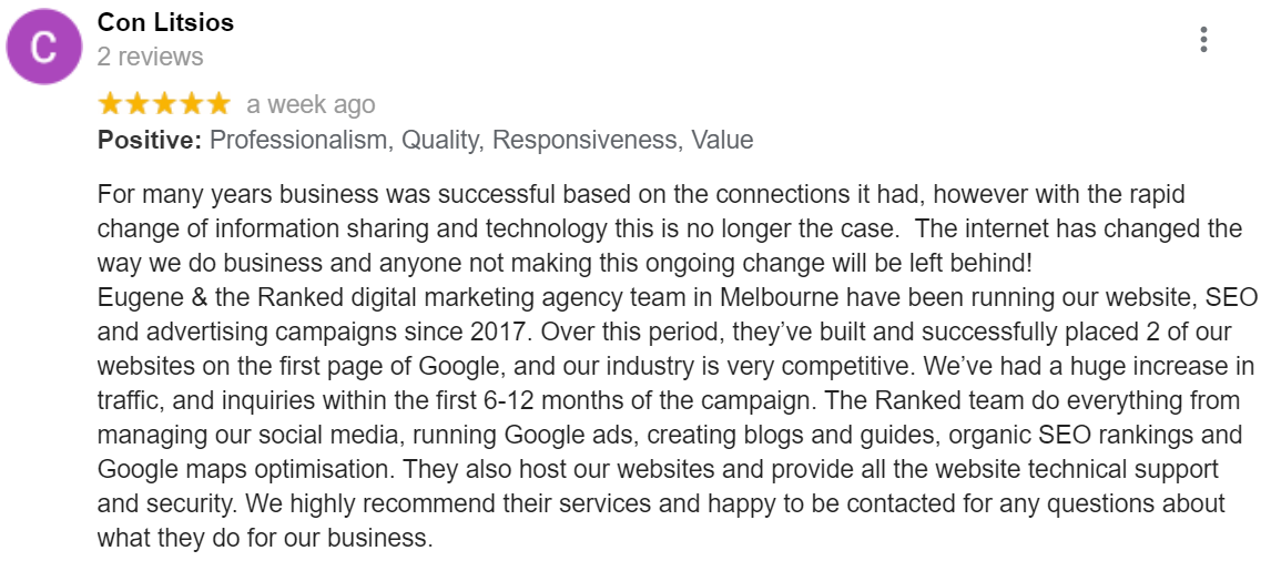 seo agency google review