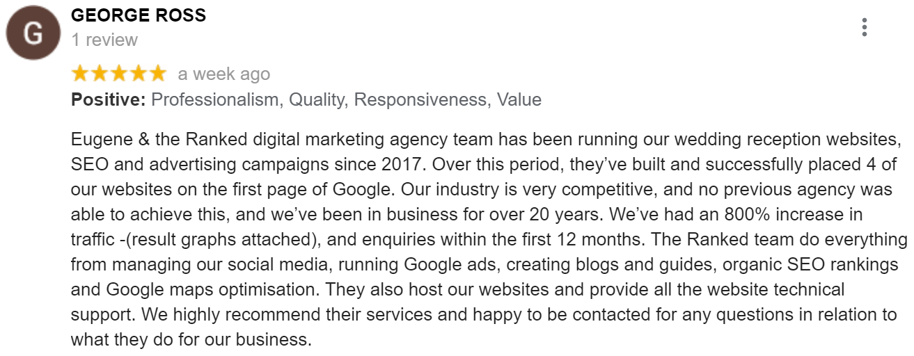 google review for seo agency