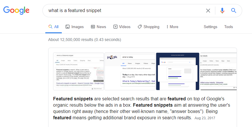 Featured snippets are selected search results that are featured